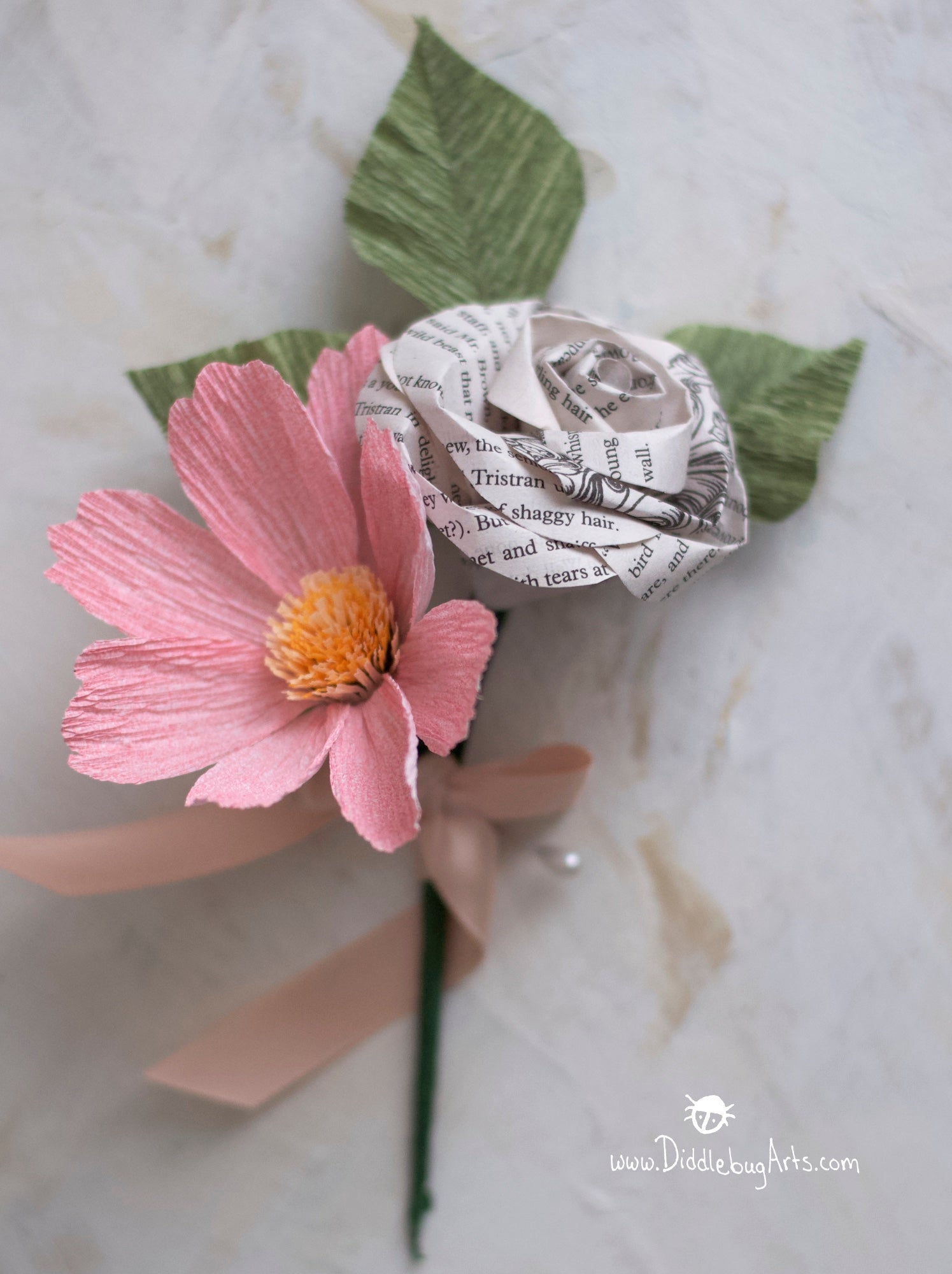 Paper Garden Cosmos and Book Page Rose Boutonniere or Corsage