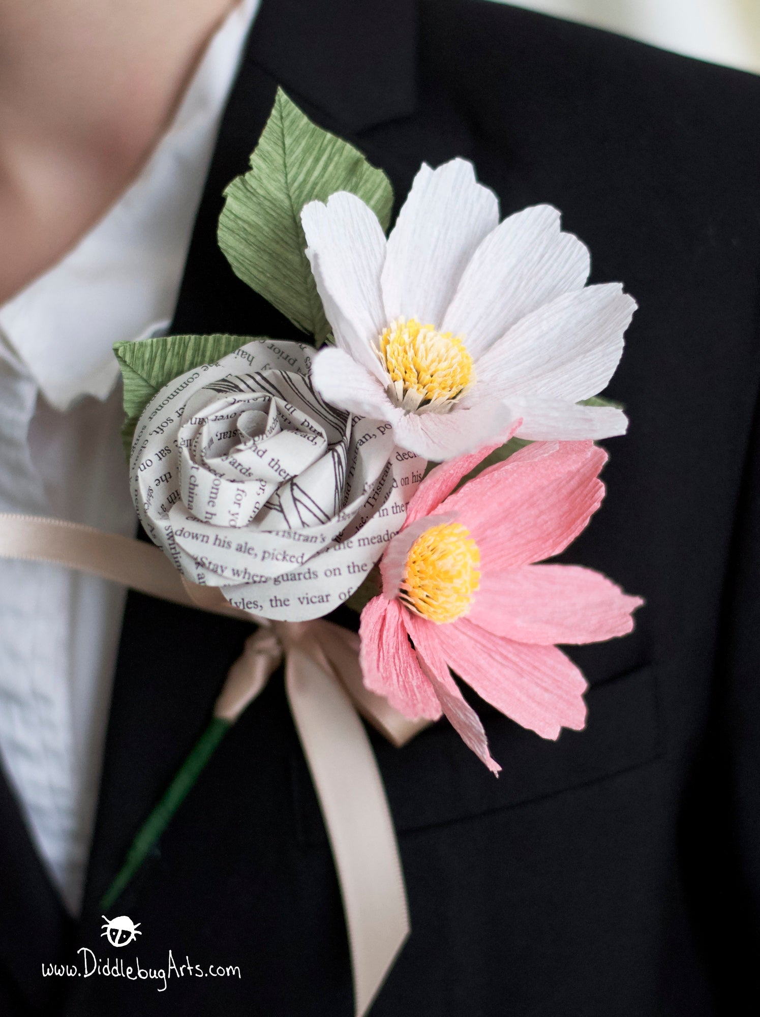 Paper Garden Cosmos and Book Page Rose Pin On Corsage or Boutonniere
