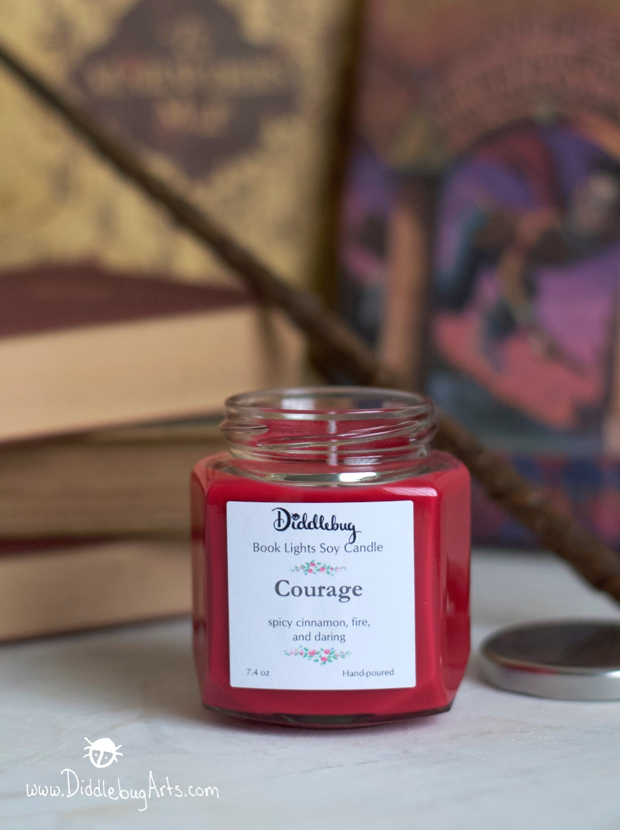 red soy candle based on Harry Potter cinnamon scented