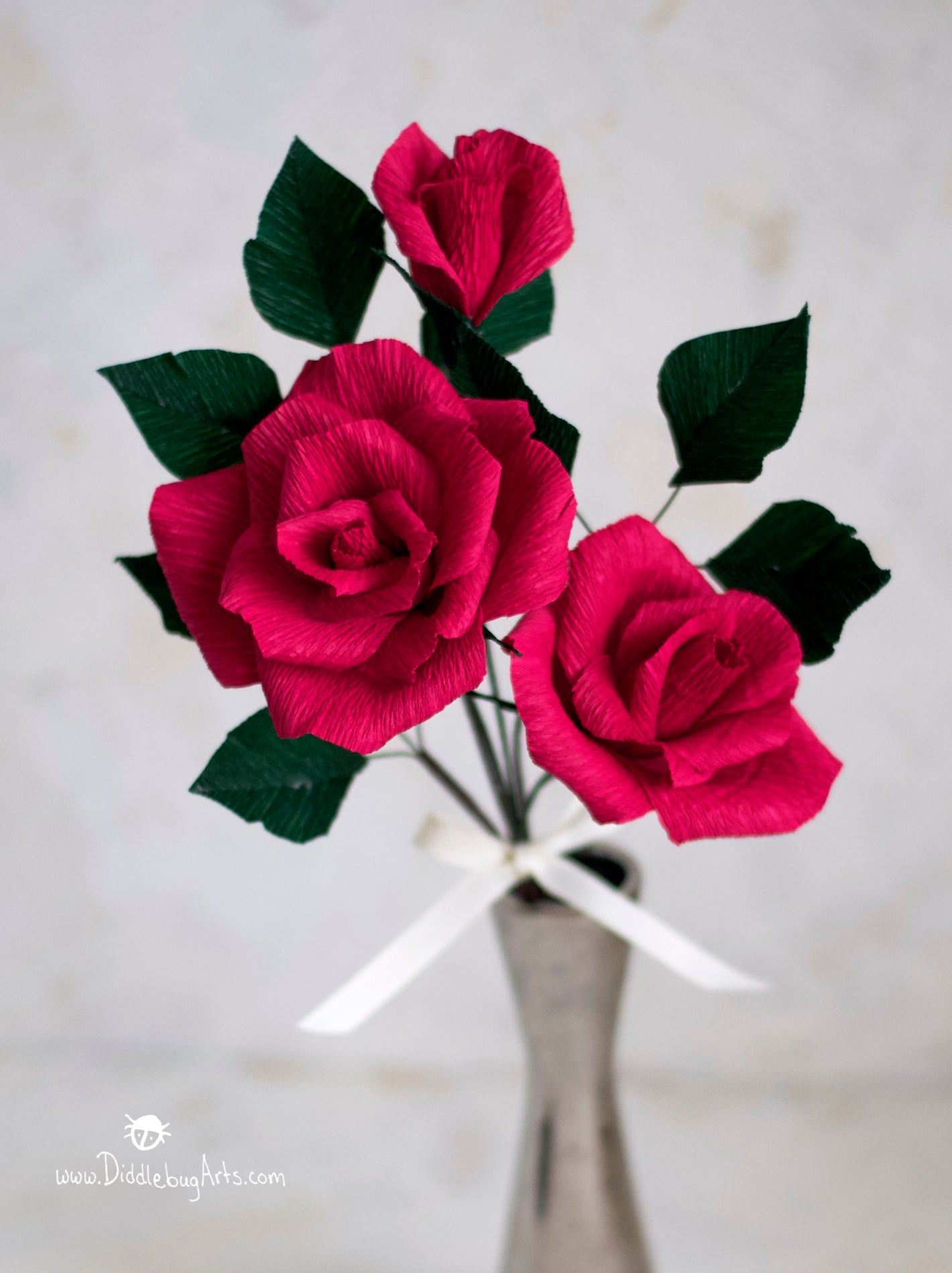 Crepe Paper Standard Rose and Bud