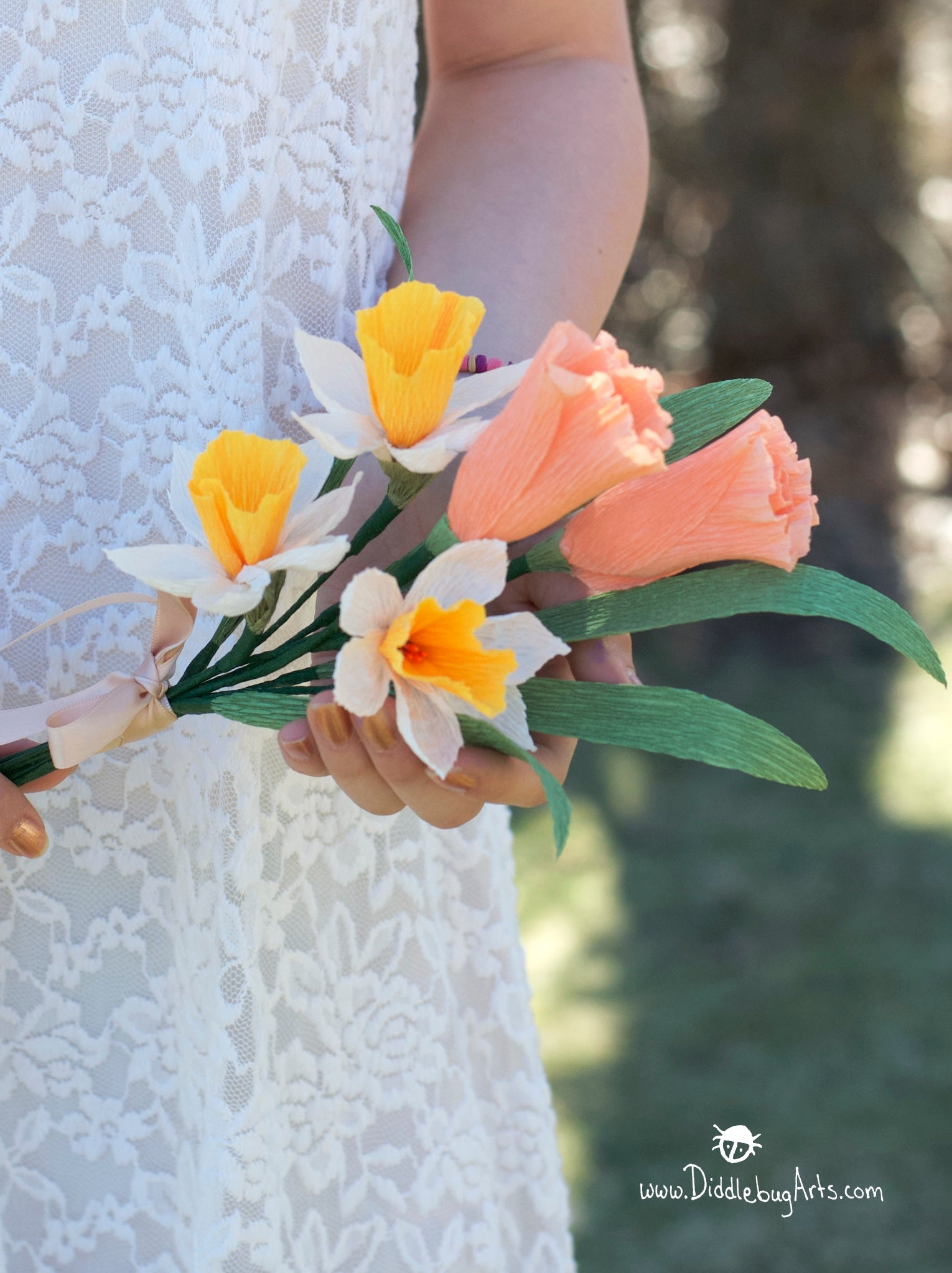 paper bouquet with daffodils and tulips