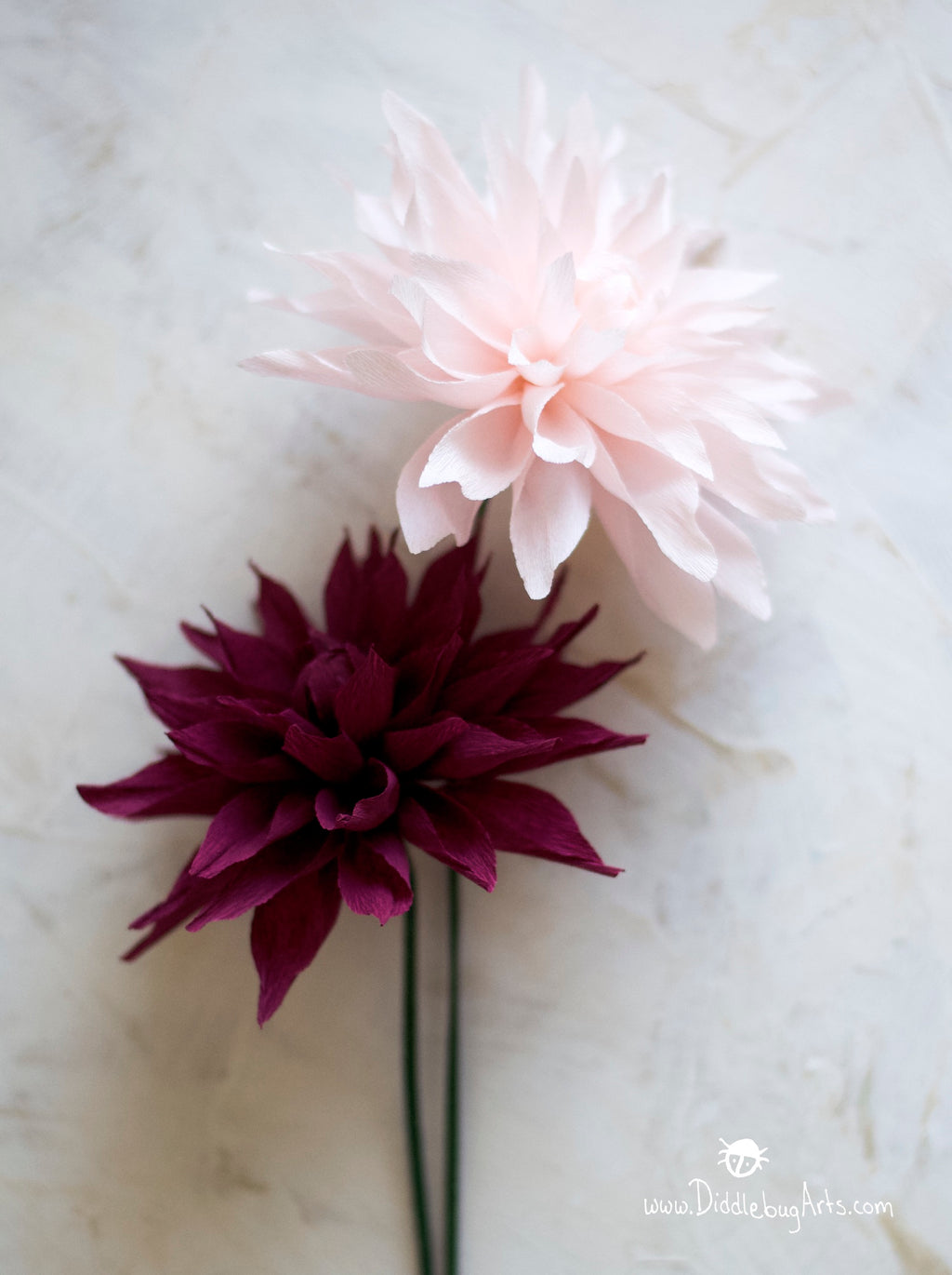 pink and burgundy paper dahlias