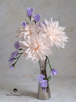 paper sweet peas and dahlias in a vase