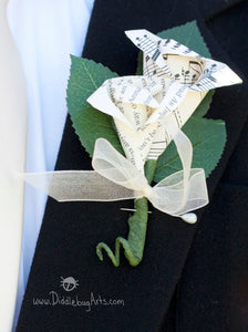 Double Rose Bud Book Page or Music Boutonniere