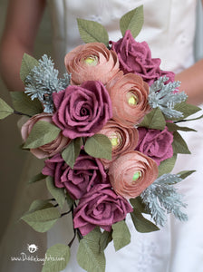 Elinor Bouquet - Slight Cascade Crepe Paper Rose, Ranunculus, and Astilbe Bouquet