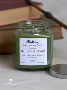 green forbidden forest harry potter candle