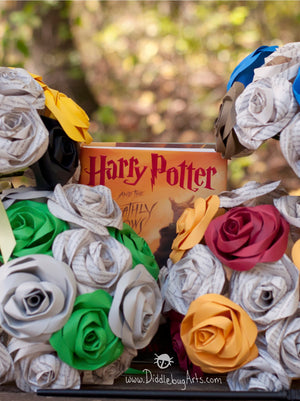 Wedding bouquets based on Harry Potter Houses book pages