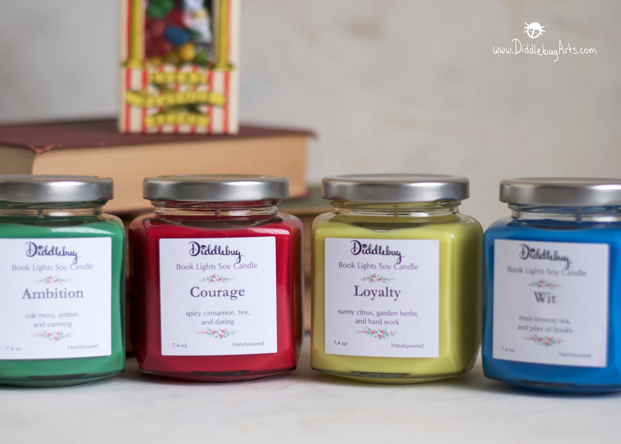 four soy candles based on four harry potter houses