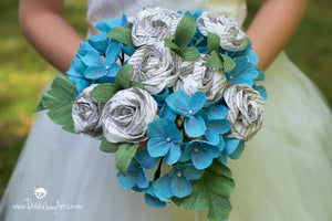 Crepe Paper Hydrangea and Book Page Rose Bouquet