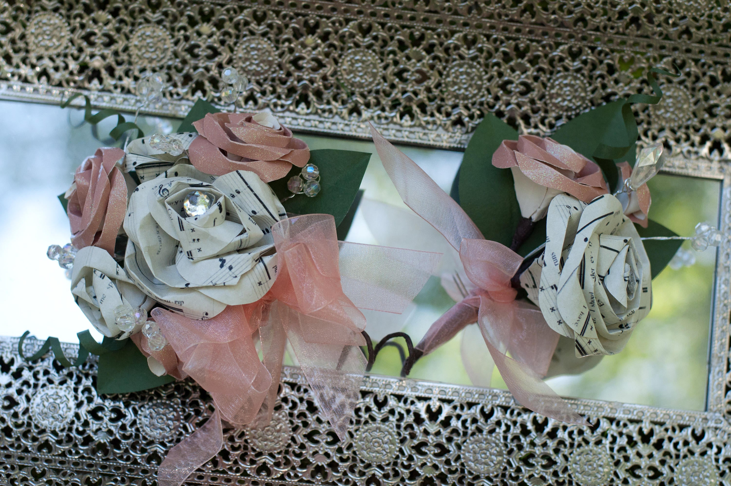 peach colored prom corsage and boutonniere set made with paper and bling