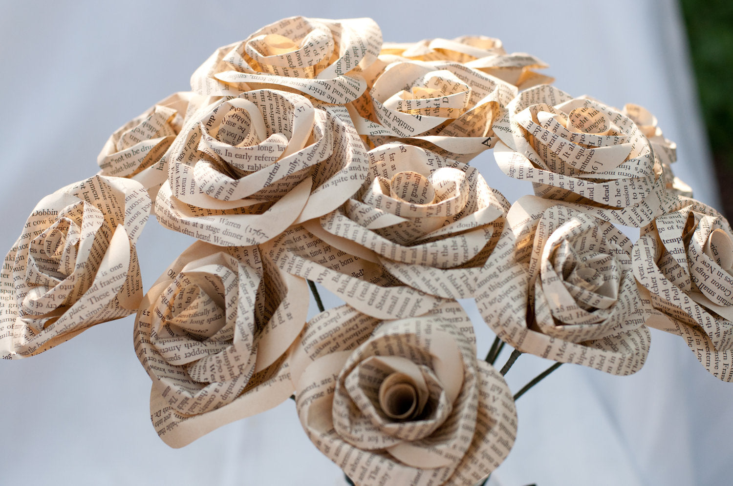 bouquet of a dozen book page roses
