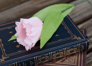 pink crepe paper tulip on a book
