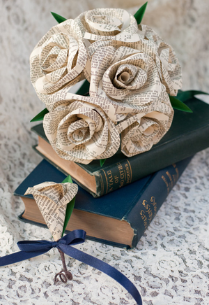 bridal set with book page roses bridal bouquet and boutonniere