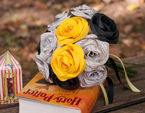 hufflepuff harry potter house bouquet book page roses