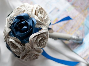 Dr. Who Sonic Screwdriver Handled Paper/Book Page 15 Rose Bouquet