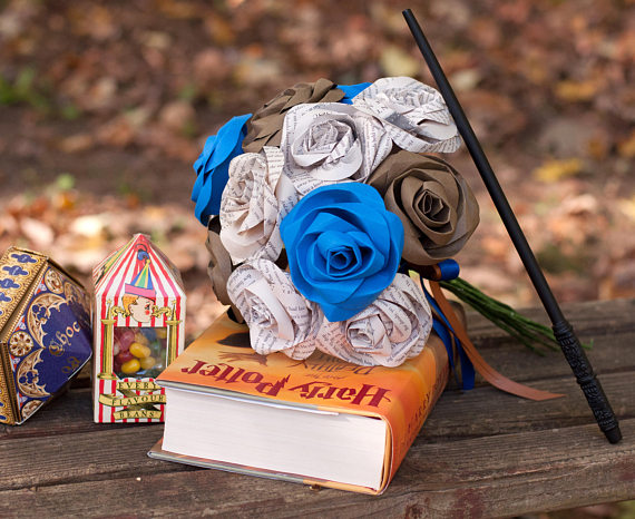 ravenclaw harry potter house bridal bouquet with blue and bronze