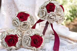 wedding bouquet set with three bridesmaid bouquet and one bridal bouquet with red sueded paper roses and book page roses
