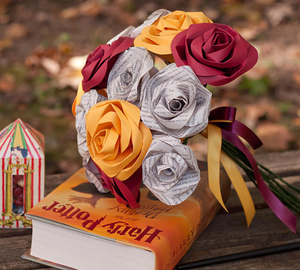 gryffindor house harry potter wedding bouquet book pages