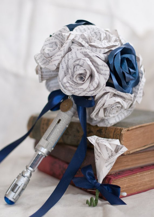 dr who screwdriver handle bridal bouquet with book page roses and boutonniere