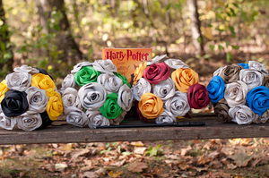 four bridal bouquets based on harry potter house colors