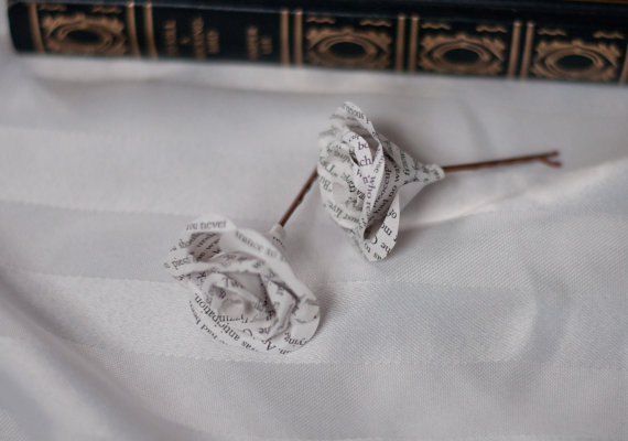 close up of mini book page rose hair pins