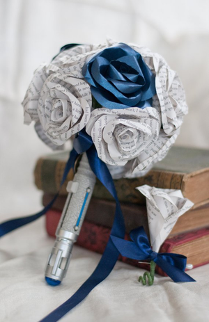 Dr Who screwdriver handle bouquet wedding flowers