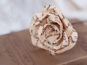 Paper Parchment Rose with Hand Written Message