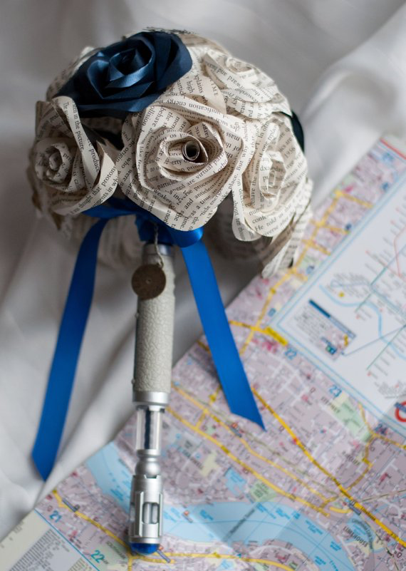 sonic screwdriver Dr. Who handle bridal bouquet with book page roses