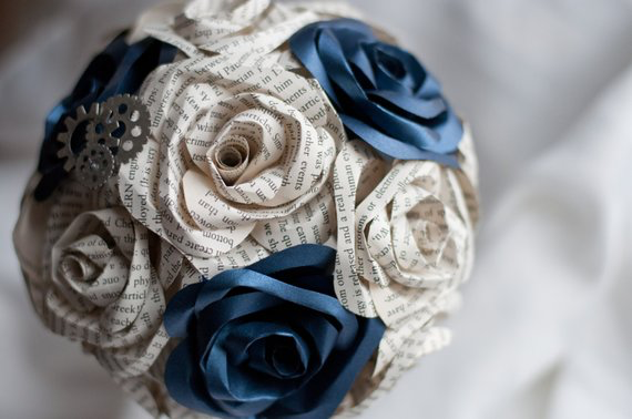 bridal bouquet with book page and shimmery blue roses