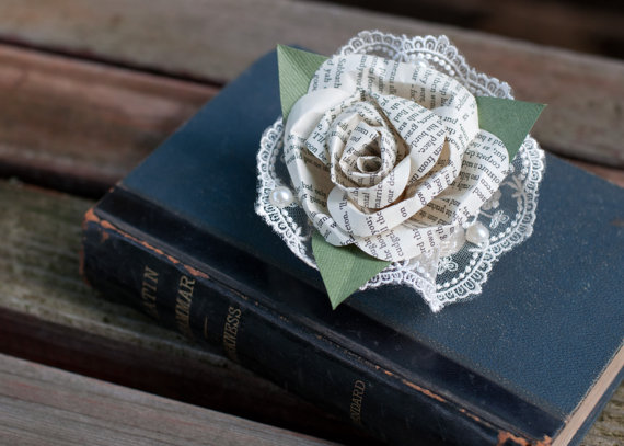 literature rose with lace to pin on
