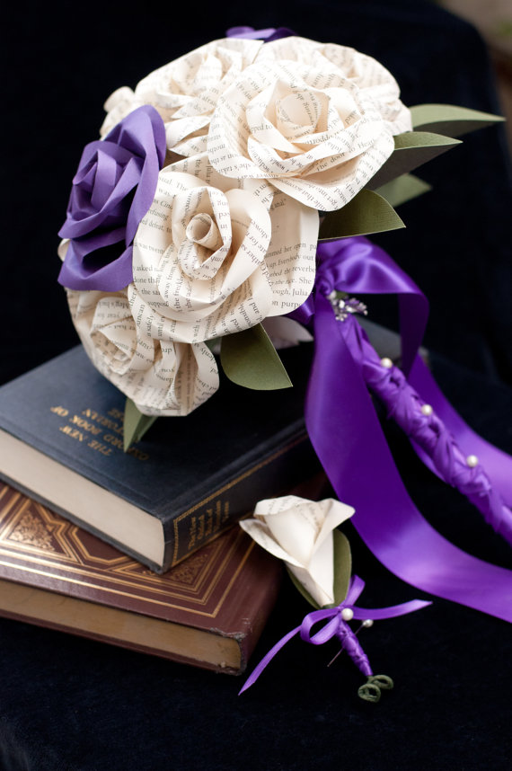 book page and purple paper rose wedding bouquet and boutonniere set