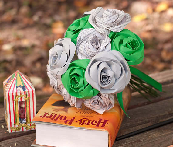 slytherin book page rose bridal bouquet harry potter house