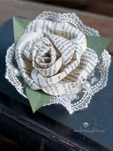 book page literature paper rose pin on corsage with lace
