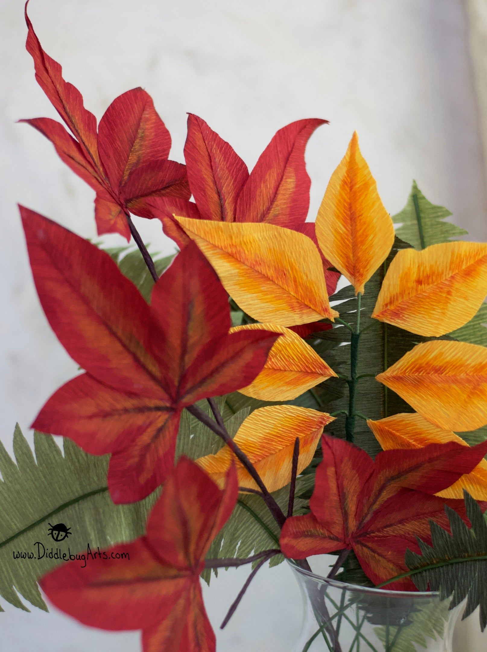 Hand-Painted Crepe Paper Maple Leaf Branch