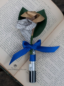 light saber boutonniere with book page rose bud