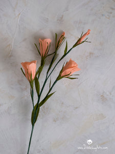 delicate coral crepe paper lisianthus flower stem