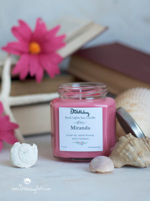 pink soy candle based on shakespeare the tempest