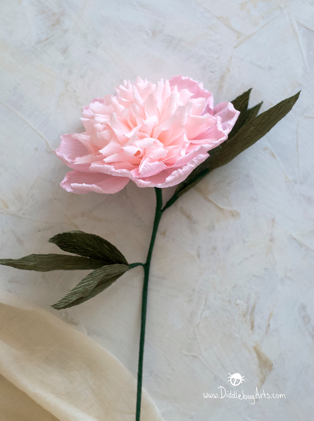 pink crepe paper peony