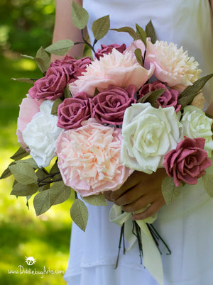 wedding bouquet made of paper pink peonies, plum and white roses