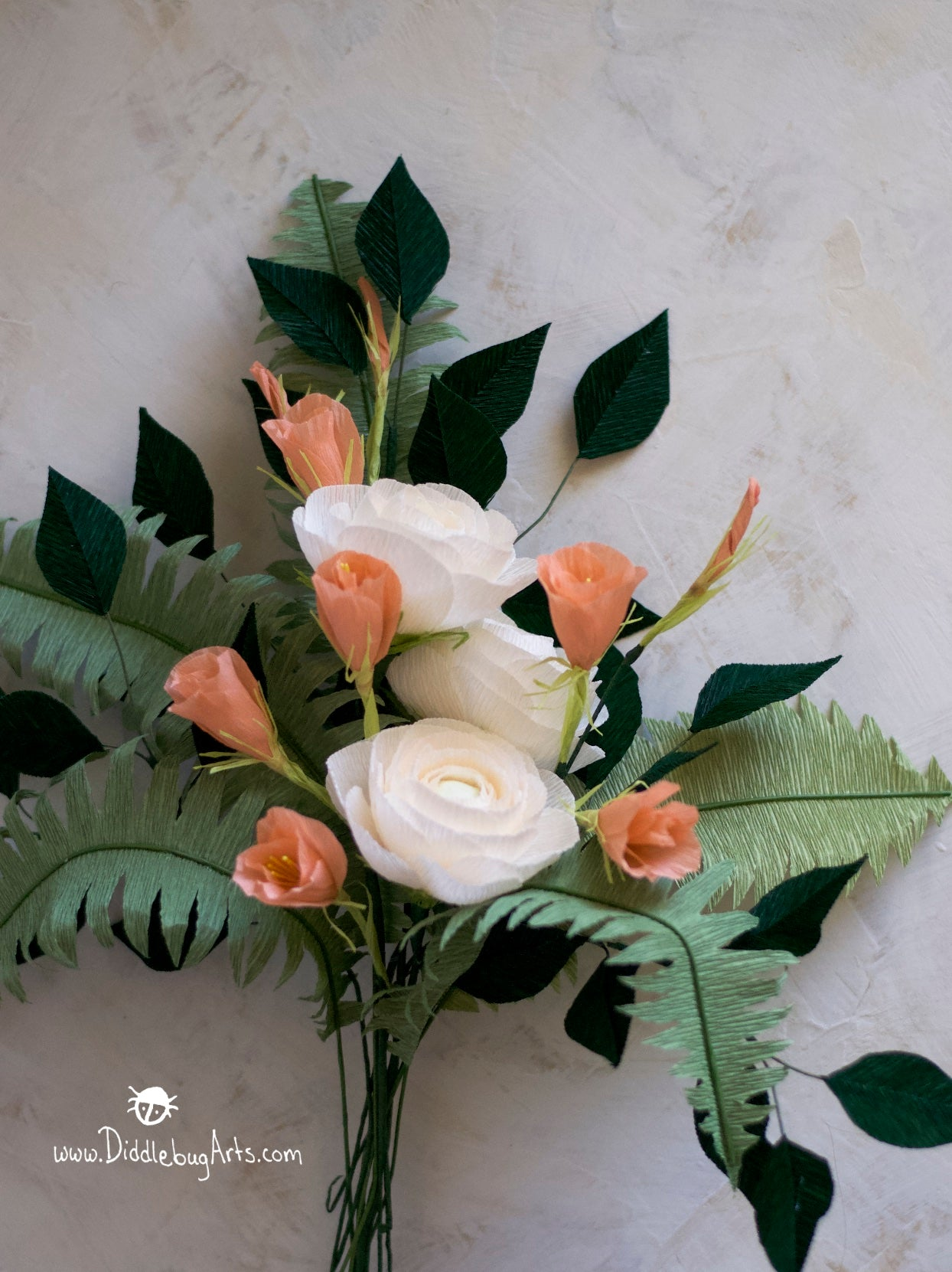 paper flower wedding bouquet with ranunculus, lisianthus, ferns and greenery