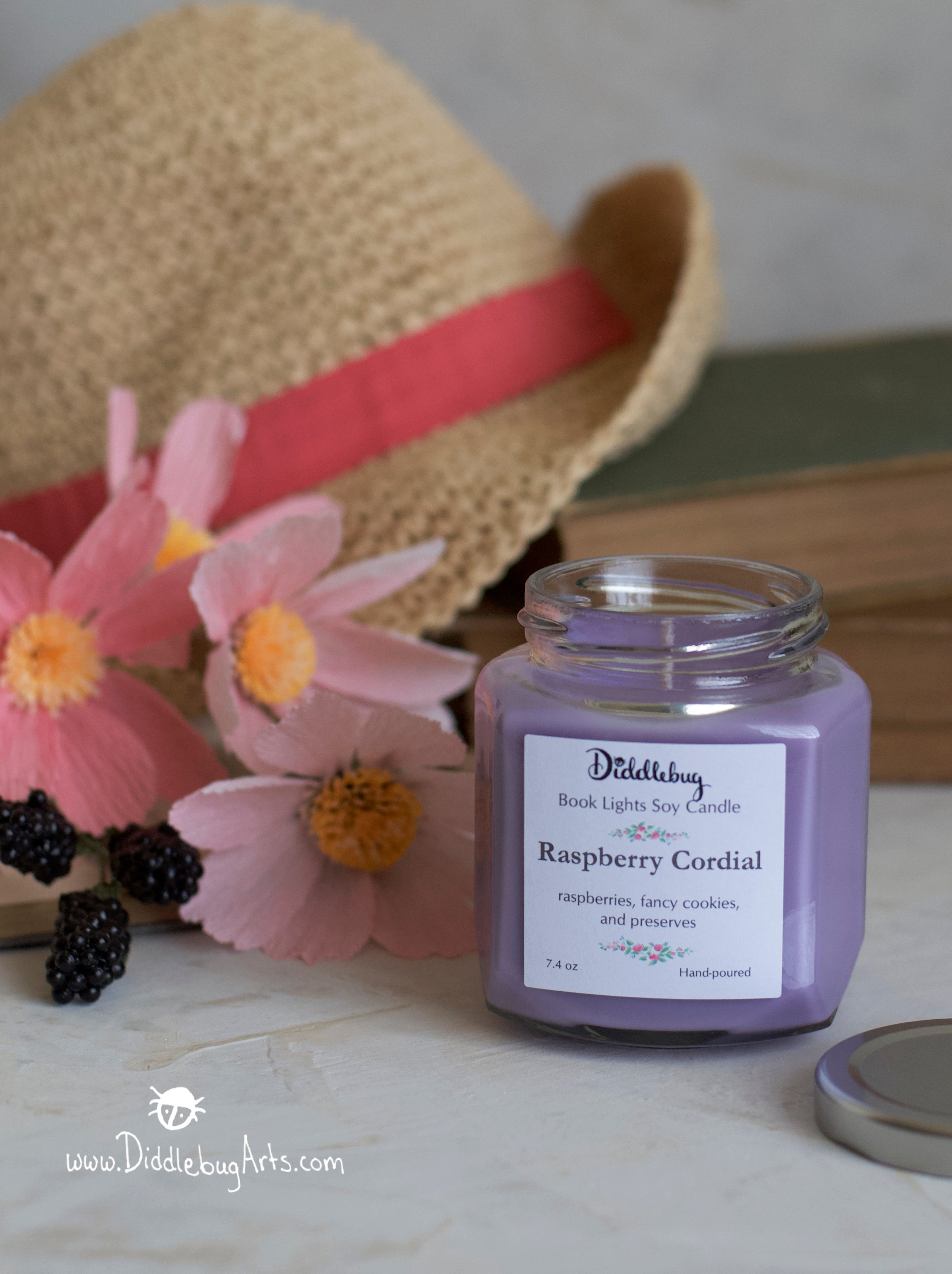 Raspberry Cordial - 7.4 oz Hand-Poured Soy Hexagon Jar Candle