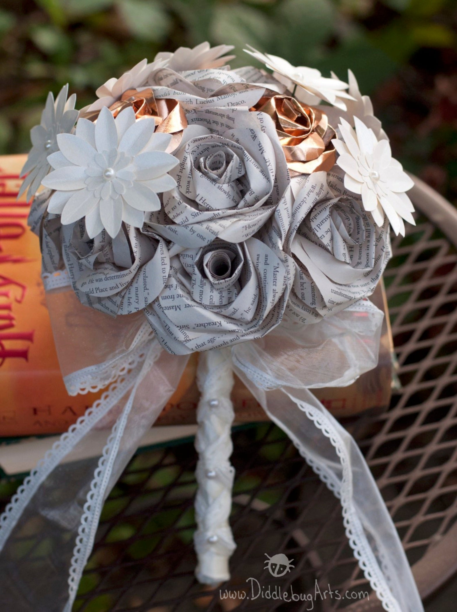 READY TO SHIP - Harry Potter Book Page Wedding Bridal Bouquet with Daisies and Copper Accents