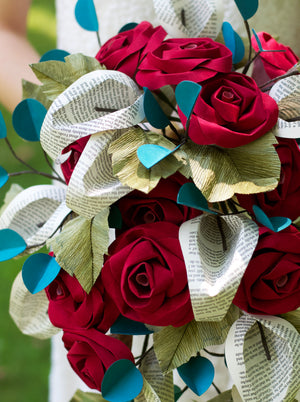 close up of paper wedding bouquet