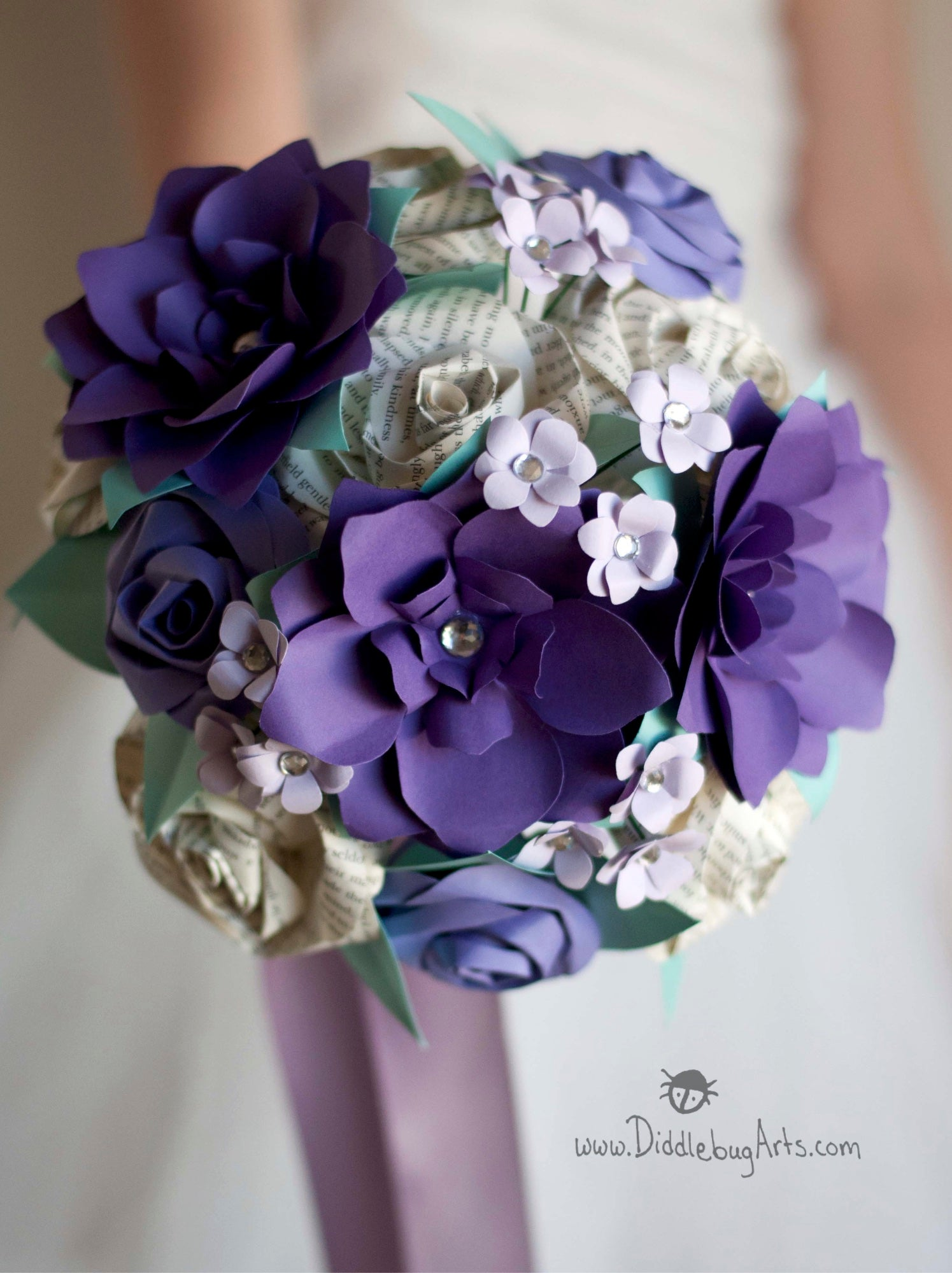 READY TO SHIP - Pride and Prejudice Book Page Rose and Purple Gardenias Bouquet