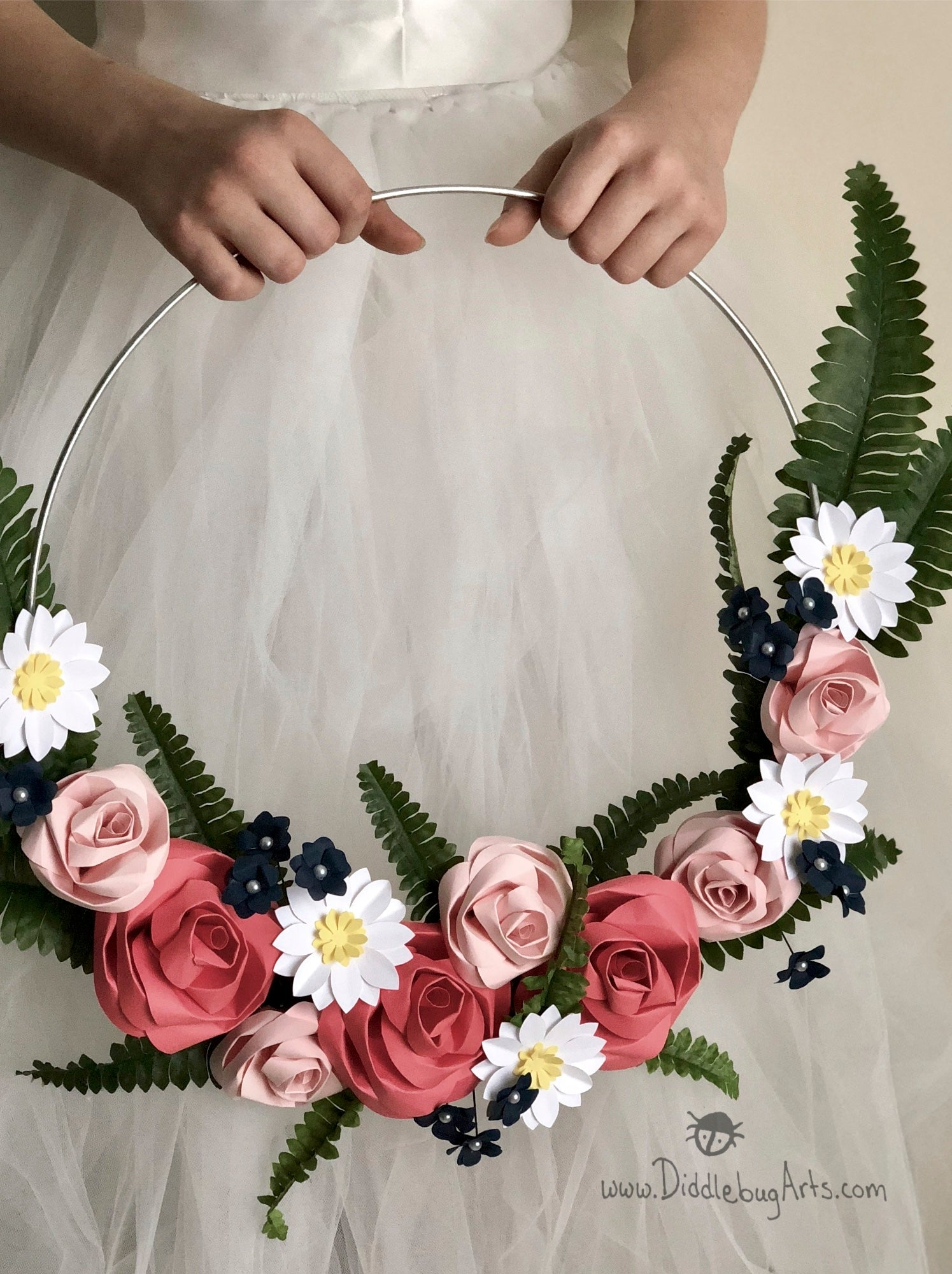 Ferns and paper flowers wall wreath