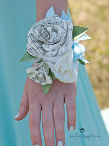 music or book page paper prom wrist corsage with pearl bracelet