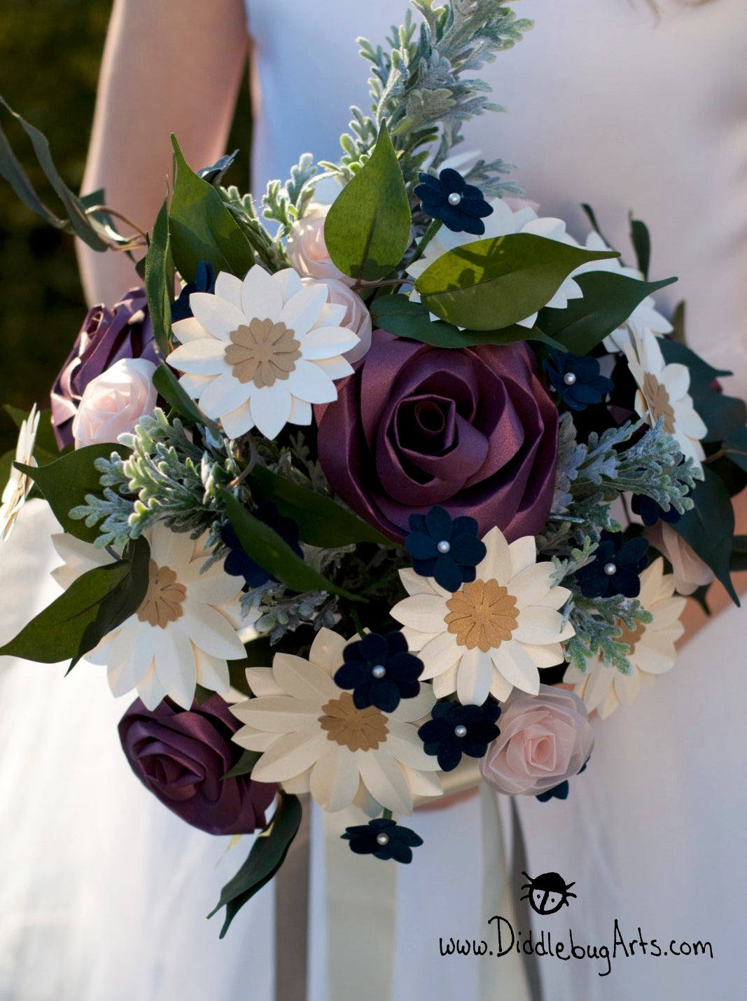 Ramona's Bouquet - Paper Roses and Daisies with Silk Greenery