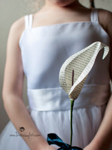 Book Page Single Calla Lily Paper Flower