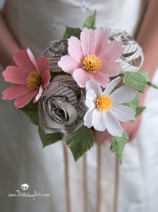 Paper Garden Cosmos and Book Page (or Music) Rose Bouquet Bridesmaid or Small