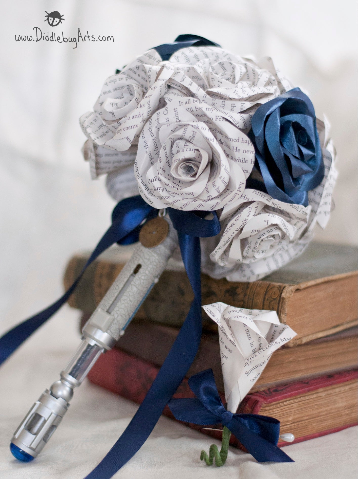Dr Who sonic screwdriver bridal bouquet with book page roses